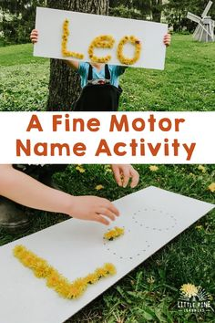 Here is a simple and adorable name activity for preschoolers! This low-prep activity for kids helps them work on letter and name recognition skills while strengthening fine motor skills. Try using dandelions or wildflowers! Summer Preschool Activities, Outdoor Activities For Toddlers, Name Activities, Motor Skills Activities, Art Therapy Activities, Infant Activities, Flower Activities For Kids, Creative Activities For Children, Indoor Activities