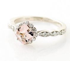 14K Asscher Morganite Diamond Engagement Ring Custom Bridal Jewelry. $995.00, via Etsy.