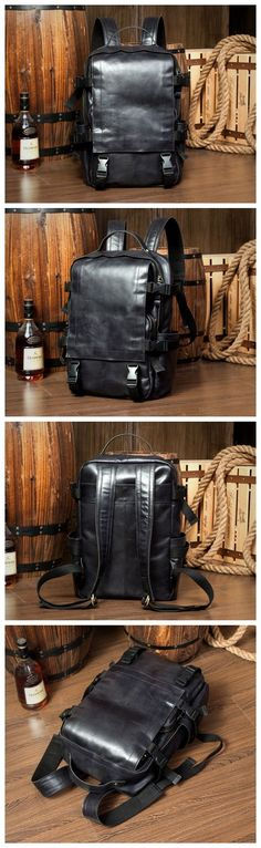 Vintage Style Full Grain Leather Backpack Travel Backpack Rucksack