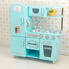 Love the color of this play kitchen!