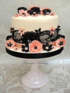 Start your own Wedding Cake Business! http://cakestyle.tv/products/wedding-cake-busines-serie/?ap_id=weddingcake - Black lace & Peach #WeddingCake
