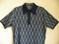 Vtg 50s 60s Rockabilly Retro Mod Knit Men's Polyester Shortsleeve Shirt   Sz L $30  Vintage Fashion & Designer Clothes
