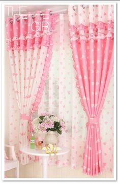 PINK & WHITE HEARTS COVER A LOVABLE WINDOW TREATMENT. WHITE AND PINK ALTERNATING POLYESTER TRIMMED BLACK OUT CURTAINS ARE COVERED WITH A PINK AND WHITE HEART PATTERN AND TOPPED WITH THE ALTERNATING COLOR AND TRIMMED WITH WHITE POM POMS AND RUFFLES. THE SET IS MATCHED WITH SHEER WHITE CURTAINS WITH MATCHING PINK HEARTS. A LOVABLE WINDOW TREATMENT. Childrens Curtains, Kids Curtains, Bedroom Curtains, Window Curtains, Bedroom Barn Door, Tv Cabinet Design, White Sheer Curtains, Valance Window Treatments, Curtain Length