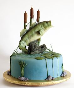 Bass Fish Cake the perfect groom's cake, but on flat sheet cake with Hooked 6-14-14