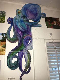 Wall Drawing, Art Drawings, Art And Illustration, Graffiti, Octopus Art, Ocean Art, Mural Art, Beach Art, Painting Inspiration