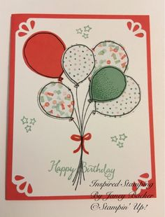 Inspired Stamping by Janey Backer: Birthday Card Bash, Balloon Celebration, Stampin' Up!