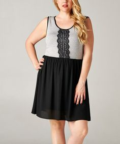 Black & Gray Lace Sleeveless Dress - Plus #zulily #zulilyfinds I could pair this with a black bolero