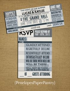 Gray Concert Ticket Wedding Invitation by PenelopesPaperPantry