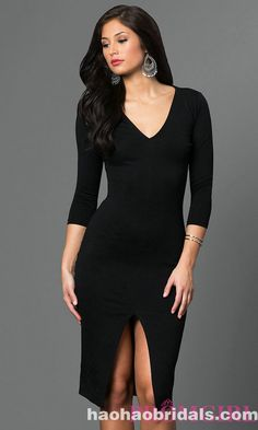 093f94a28681 Shop short tight dresses and black cocktail dresses at Simply Dresses.  Little-black knee-length dresses and three-quarter sleeve dresses.