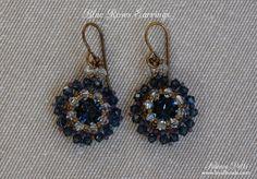 ffbd19871 Beaded Earrings Tutorial - Blue Roses Earrings - 8mm Beaded Bezel Swarovski  Chatons - Swarovski Earrings - PDF pattern