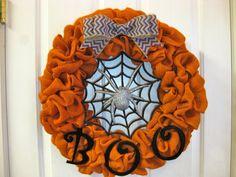 Halloween Orange Burlap Wreath