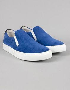 Trouva: Garment Project Electric Blue Suede Slip On Sneaker