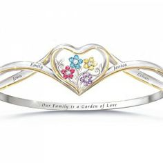 Garden Of Love Bracelet With Names And Flower Shaped Birthstones