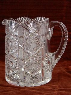 on LiveAuctioneers Glass Jug, Glass Ceramic, Cut Glass, Crystal Glassware, Crystal Vase, Pink Depression Glassware, Bohemia Crystal, Crystals In The Home, Water Pitchers