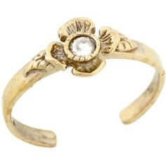 10k Yellow Real Gold White CZ Flower Cute Fun Womens Toe Ring Jewelry Liquidation. $89.20. Made in USA!. Made with Real 10k Gold!