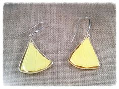 Real Butterfly Wing Jewelry Statement Earrings by JBirdsPerch Insect Jewelry, Butterfly Earrings, Butterfly Wings, Wing Earrings, Statement Earrings, Butterfly Species, Bird Perch, Yellow Black, Triangles