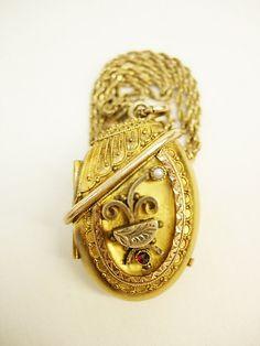 VIctorian Locket garnets seed pearls etrsucan mixed metals RARE beauty antique  necklace
