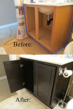 DIY Staining - The EASY Way with Professional results! This will come in handy when we redo our bathrooms