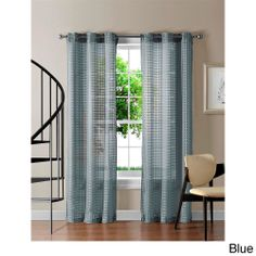 'Jacob' Grommet Sheer 84 inch Gingham Curtain Panel Pair   Overstock.com Shopping - Great Deals on Sheer Curtains