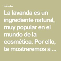 La lavanda es un ingrediente natural, muy popular en el mundo de la cosmética. Por ello, te mostraremos a continuación cómo incluirla en la receta clásica de crema para manos. Si tus palmas están secas y deshidratadas, ¡esta es tu solución! Bozo, Perfume, Popular, World, Puffy Eyes, Longer Lashes, Homemade Cosmetics, Lash Extensions, Natural Cosmetics