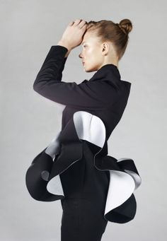 Sculptural Fashion - monochrome tailored jacket with contoured 3D structure - experimental fashion design; wearable art // Anna Golovina