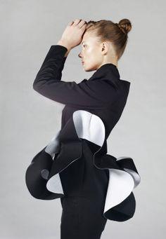 Sculptural Fashion - monochrome tailored jacket with contoured 3D structure - experimental fashion design; wearable art // Anna Golovina