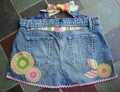 como fazer avental com jeans reciclado