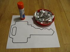 Letter K -K is for Key.  Kids can tear up the pieces of foil themselves (fine motor skills!) and glue them to key cut-out. Could make keys out of construction paper first.
