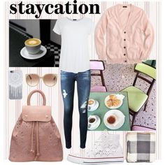 staycation at the diner by kc-spangler on Polyvore featuring J.Crew, AG Adriano Goldschmied, Converse, GUESS, Tom Ford, Pink, jeans, relaxed and staycation