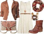 robe blanche + veste daim+ bottes camel