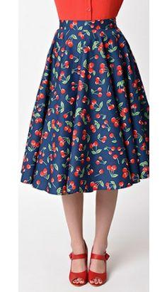 c4a1d5ab55 Hell Bunny 1940s Style Navy Blue Kennedy High Waist Swing Skirt ...