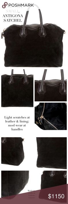 """GIVENCHY ANTIGONA BLACK SUEDE SATCHEL Givenchy Antigona black suede satchel bag features gold-tone hardware, flat black leather shoulder strap, dual rolled black leather top handles, tonal stitching throughout, leather logo at front, black woven lining, int side zip pocket & dual wall slots w top zip closure. Approx Measurements: Shoulder Strap Drop 13"""", Handle Drop 4.5"""", H: 12"""", W: 13"""", D: 6.5"""". Condition: Loved. Ext: Mod/Light wear throughout; mod marks at corners; handles, leather…"""