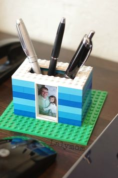 Kid Made Father's Day Gift - LEGO Photo Pen Holder for Dad