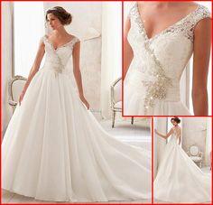 Gorgeous Lace & Organza Satin & Satin A-line Wedding Dress 2014 Natural Waist V-neck Wedding Gown Beadings