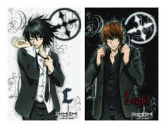 i think the one on the right is death note book and the left light note .....idk :