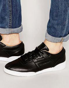 De fedeste Reebok Workout Lo Clean Premium Leather Trainers In Black V68814 - Black Reebok Løbesko til Herrer i lækker kvalitet