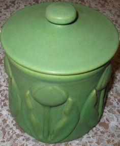 van briggle pottery | Van Briggle 1902 Covered Tulip Jar sells for $3,277