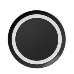 White Ring. Bold simple white ring on black circles graphic design dinnerware. Simplicity can be elegant.