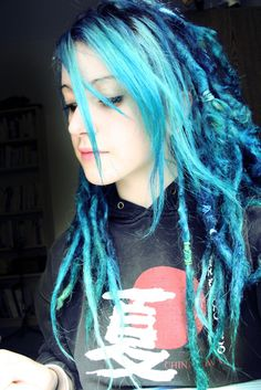 Dreads!!! These dreadlocks are really cute I love the different shades of blue