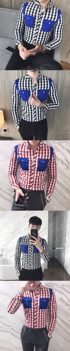 Blouses 2017 Red British Style Plaid Shirts Mens Shirts Casual Slim Fit Mens Shirts Fashion Camisa Hombre Club Black and White