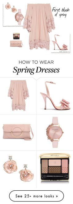 """""""First blush of spring"""" by veronababy on Polyvore featuring Muche Et Muchette, Christian Louboutin, Badgley Mischka, Olivia Burton and Guerlain"""