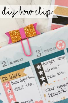 Easy DIY bow clip for your planner - printable template included!