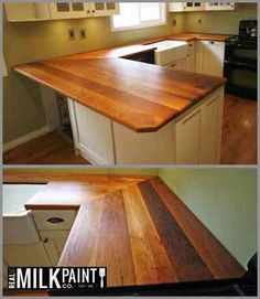 Stunning example of reclaimed wood counter tops finished with Pure Tung Oil by The Rediscovered Wood Floor Company Ltd.