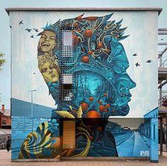 Share your graffiti and Street Art here. Murals Street Art, Mural Art, Street Art Graffiti, Wall Art, Best Street Art, 3d Street Art, Amazing Street Art, Street Artists, Arte Banksy