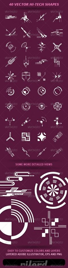 40 Vector Hi-Tech Shapes  #GraphicRiver         Set of 40 vector hi-tech shapes…