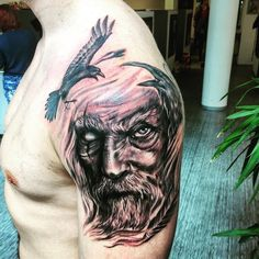 Fresh Odin tattoo by Paulo Lopes at Leading Light Bergen, Norway. : tattoos