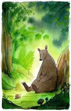 JESSICA LANAN, illustrator-bear, forest, Nature, Animal, snail, and woods