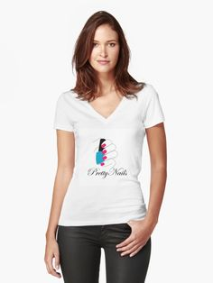 Women's Fitted V-Neck T-Shirts with pretty nails and nailpolish