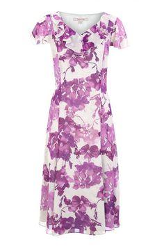 Cracked Floral Print Tea Dress