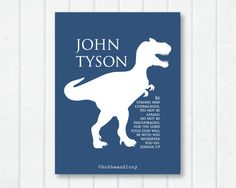 (for Bubba) Dinosaur T-Rex Be Strong Personalized 8x10 Print by BubbaAndLucy